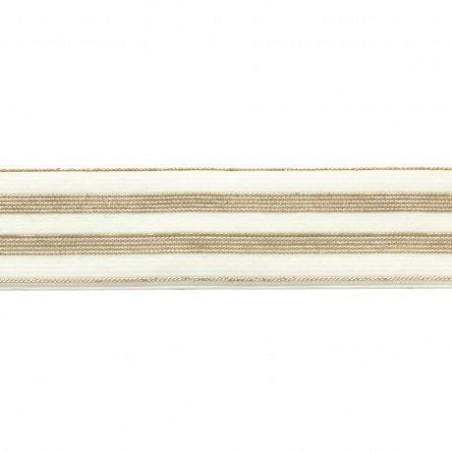 Elastique blancrayures lurex or - 30 mm