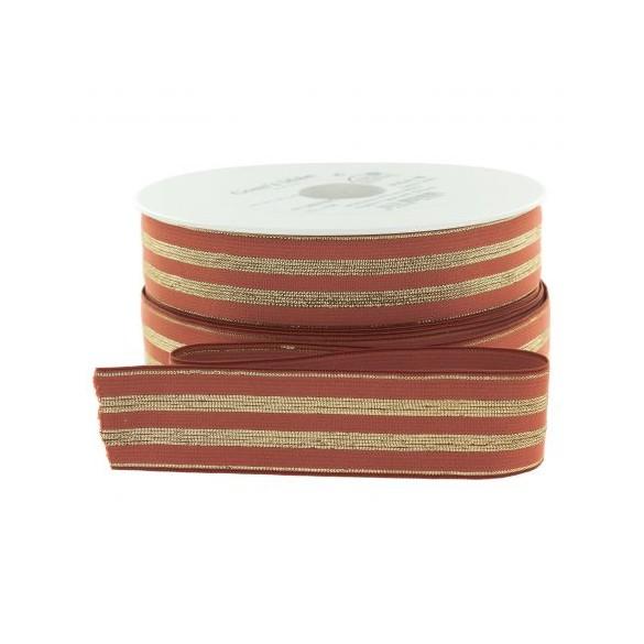 Elastique rouille rayures lurex or - 30 mm