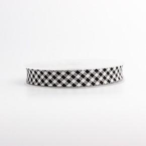 Biais imprimé vichy noir et blanc