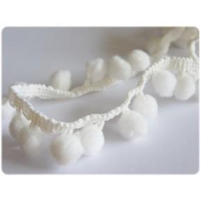 Galons pompons blancs