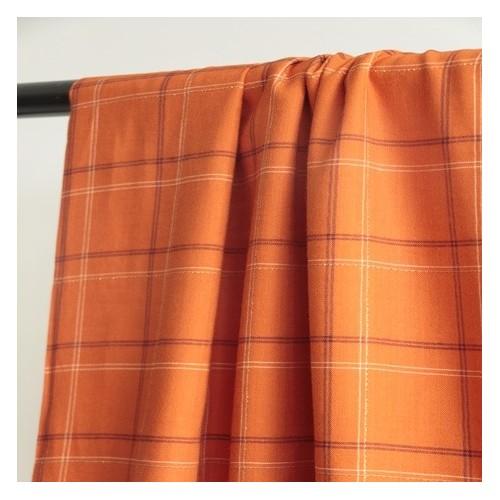Coton et viscose à carreaux orange