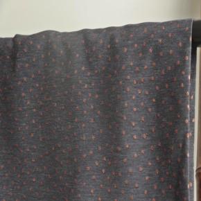 tissu jacquard bleu denim à pois cuivrés