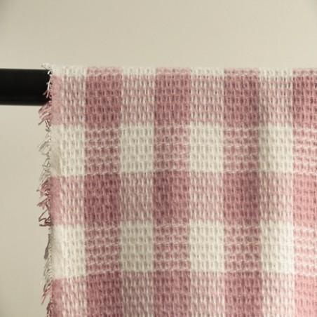 TISSU LAINAGE carreaux rose et blanc