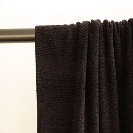 tissu maille chenille noir