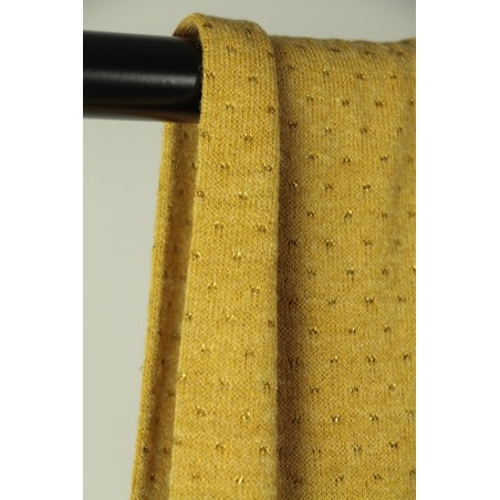 tissu maille fine ajourée moutarde